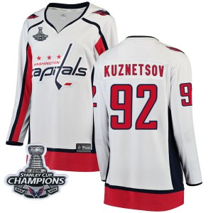 Washington Capitals Evgeny Kuznetsov Official White Fanatics Branded Breakaway Women's Away 2018 Stanley Cup Champions Patch NHL
