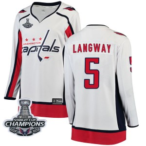Washington Capitals Rod Langway Official White Fanatics Branded Breakaway Women's Away 2018 Stanley Cup Champions Patch NHL Hock
