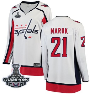 Washington Capitals Dennis Maruk Official White Fanatics Branded Breakaway Women's Away 2018 Stanley Cup Champions Patch NHL Hoc