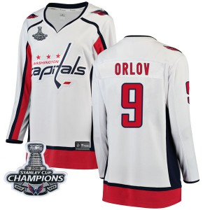 Washington Capitals Dmitry Orlov Official White Fanatics Branded Breakaway Women's Away 2018 Stanley Cup Champions Patch NHL Hoc