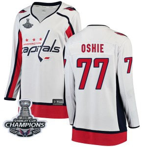 Washington Capitals T.J. Oshie Official White Fanatics Branded Breakaway Women's Away 2018 Stanley Cup Champions Patch NHL Hocke