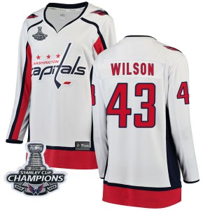 Washington Capitals Tom Wilson Official White Fanatics Branded Breakaway Women's Away 2018 Stanley Cup Champions Patch NHL Hocke