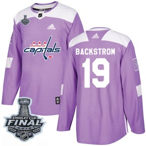 Washington Capitals Nicklas Backstrom Official Purple Adidas Authentic Adult Fights Cancer Practice 2018 Stanley Cup Final Patch