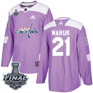 Washington Capitals Dennis Maruk Official Purple Adidas Authentic Adult Fights Cancer Practice 2018 Stanley Cup Final Patch NHL