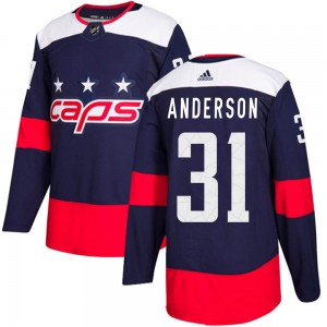 Washington Capitals Craig Anderson Official Navy Blue Adidas Authentic Youth 2018 Stadium Series NHL Hockey Jersey