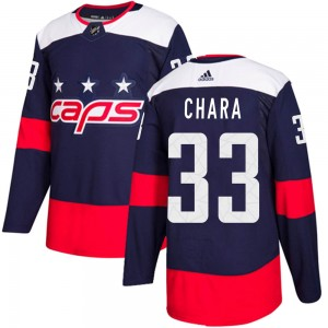 Washington Capitals Zdeno Chara Official Navy Blue Adidas Authentic Youth 2018 Stadium Series NHL Hockey Jersey