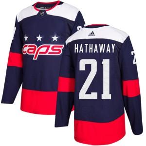 Washington Capitals Garnet Hathaway Official Navy Blue Adidas Authentic Youth 2018 Stadium Series NHL Hockey Jersey