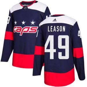Washington Capitals Brett Leason Official Navy Blue Adidas Authentic Youth 2018 Stadium Series NHL Hockey Jersey