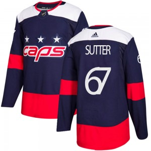 Washington Capitals Riley Sutter Official Navy Blue Adidas Authentic Youth 2018 Stadium Series NHL Hockey Jersey