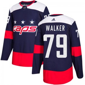 Washington Capitals Nathan Walker Official Navy Blue Adidas Authentic Youth 2018 Stadium Series NHL Hockey Jersey