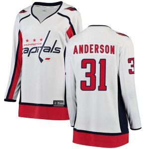 Washington Capitals Craig Anderson Official White Fanatics Branded Breakaway Women's Away NHL Hockey Jersey