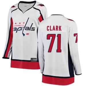 Washington Capitals Kody Clark Official White Fanatics Branded Breakaway Women's Away NHL Hockey Jersey