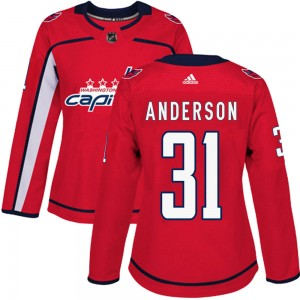 Washington Capitals Craig Anderson Official Red Adidas Authentic Women's Home NHL Hockey Jersey