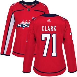 Washington Capitals Kody Clark Official Red Adidas Authentic Women's Home NHL Hockey Jersey
