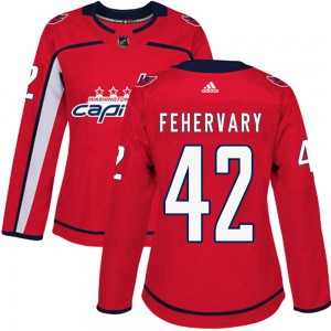Washington Capitals Martin Fehervary Official Red Adidas Authentic Women's Home NHL Hockey Jersey