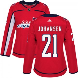 Washington Capitals Lucas Johansen Official Red Adidas Authentic Women's Home NHL Hockey Jersey