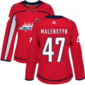 Washington Capitals Beck Malenstyn Official Red Adidas Authentic Women's ized Home NHL Hockey Jersey