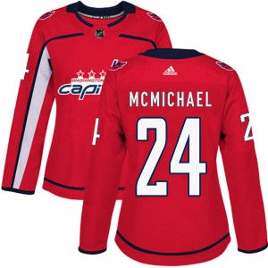 Washington Capitals Connor McMichael Official Red Adidas Authentic Women's Home NHL Hockey Jersey