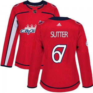 Washington Capitals Riley Sutter Official Red Adidas Authentic Women's Home NHL Hockey Jersey