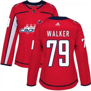 Washington Capitals Nathan Walker Official Red Adidas Authentic Women's Home NHL Hockey Jersey
