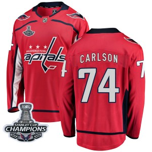 Washington Capitals John Carlson Official Red Fanatics Branded Breakaway Adult Home 2018 Stanley Cup Champions Patch NHL Hockey