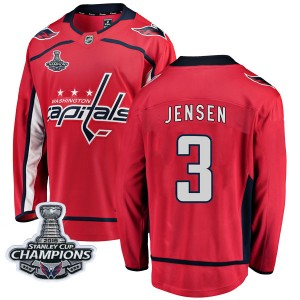 Washington Capitals Nick Jensen Official Red Fanatics Branded Breakaway Adult Home 2018 Stanley Cup Champions Patch NHL Hockey J