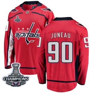 Washington Capitals Joe Juneau Official Red Fanatics Branded Breakaway Adult Home 2018 Stanley Cup Champions Patch NHL Hockey Je