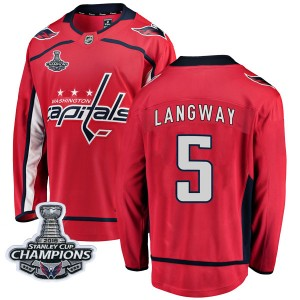 Washington Capitals Rod Langway Official Red Fanatics Branded Breakaway Adult Home 2018 Stanley Cup Champions Patch NHL Hockey J