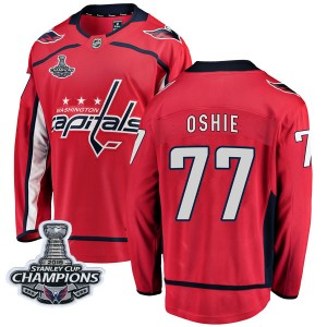 Washington Capitals T.J. Oshie Official Red Fanatics Branded Breakaway Adult Home 2018 Stanley Cup Champions Patch NHL Hockey Je