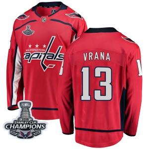 Washington Capitals Jakub Vrana Official Red Fanatics Branded Breakaway Adult Home 2018 Stanley Cup Champions Patch NHL Hockey J