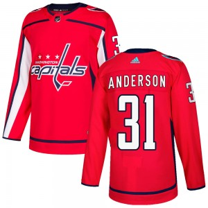 Washington Capitals Craig Anderson Official Red Adidas Authentic Youth Home NHL Hockey Jersey