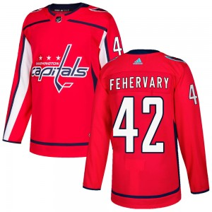 Washington Capitals Martin Fehervary Official Red Adidas Authentic Youth Home NHL Hockey Jersey