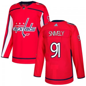 Washington Capitals Joe Snively Official Red Adidas Authentic Youth Home NHL Hockey Jersey