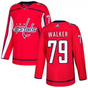 Washington Capitals Nathan Walker Official Red Adidas Authentic Youth Home NHL Hockey Jersey