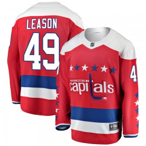 Washington Capitals Brett Leason Official Red Fanatics Branded Breakaway Adult Alternate NHL Hockey Jersey