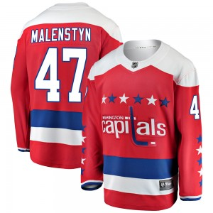 Washington Capitals Beck Malenstyn Official Red Fanatics Branded Breakaway Adult ized Alternate NHL Hockey Jersey