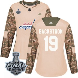 Washington Capitals Nicklas Backstrom Official Camo Adidas Authentic Women's Veterans Day Practice 2018 Stanley Cup Final Patch
