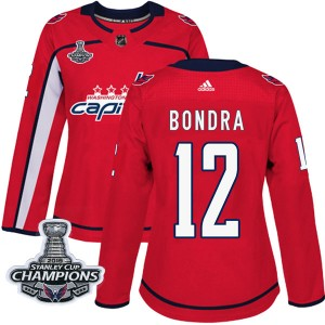 Washington Capitals Peter Bondra Official Red Adidas Authentic Women's Home 2018 Stanley Cup Champions Patch NHL Hockey Jersey