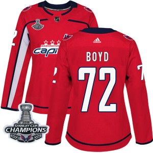 Washington Capitals Travis Boyd Official Red Adidas Authentic Women's Home 2018 Stanley Cup Champions Patch NHL Hockey Jersey
