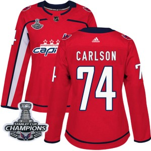 Washington Capitals John Carlson Official Red Adidas Authentic Women's Home 2018 Stanley Cup Champions Patch NHL Hockey Jersey