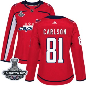 Washington Capitals Adam Carlson Official Red Adidas Authentic Women's Home 2018 Stanley Cup Champions Patch NHL Hockey Jersey