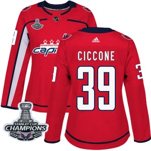 Washington Capitals Enrico Ciccone Official Red Adidas Authentic Women's Home 2018 Stanley Cup Champions Patch NHL Hockey Jersey