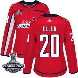 Washington Capitals Lars Eller Official Red Adidas Authentic Women's Home 2018 Stanley Cup Champions Patch NHL Hockey Jersey