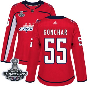 Washington Capitals Sergei Gonchar Official Red Adidas Authentic Women's Home 2018 Stanley Cup Champions Patch NHL Hockey Jersey