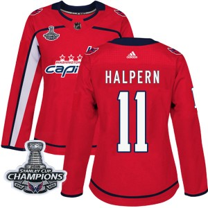 Washington Capitals Jeff Halpern Official Red Adidas Authentic Women's Home 2018 Stanley Cup Champions Patch NHL Hockey Jersey