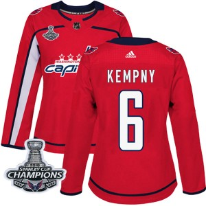 Washington Capitals Michal Kempny Official Red Adidas Authentic Women's Home 2018 Stanley Cup Champions Patch NHL Hockey Jersey
