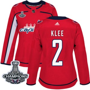 Washington Capitals Ken Klee Official Red Adidas Authentic Women's Home 2018 Stanley Cup Champions Patch NHL Hockey Jersey