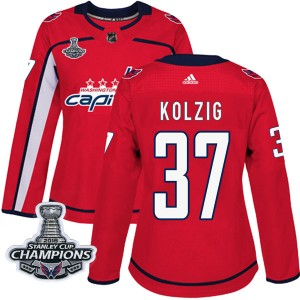 Washington Capitals Olaf Kolzig Official Red Adidas Authentic Women's Home 2018 Stanley Cup Champions Patch NHL Hockey Jersey