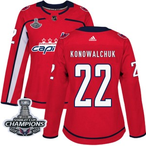 Washington Capitals Steve Konowalchuk Official Red Adidas Authentic Women's Home 2018 Stanley Cup Champions Patch NHL Hockey Jer