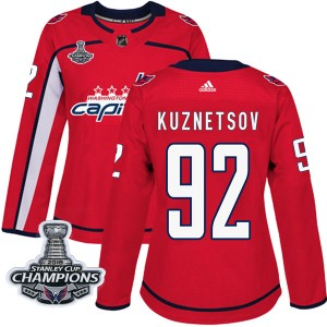 Washington Capitals Evgeny Kuznetsov Official Red Adidas Authentic Women's Home 2018 Stanley Cup Champions Patch NHL Hockey Jers